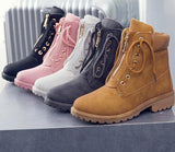 Women's Stylish Lace-Up Winter Ankle Boots- Pink, Brown, Silver, Grey, Black - Kalsord