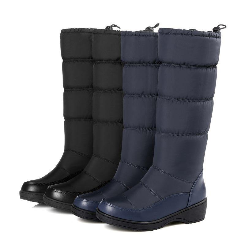 Women's Mid-Calf Snow Boot- Black, Blue, White - Kalsord