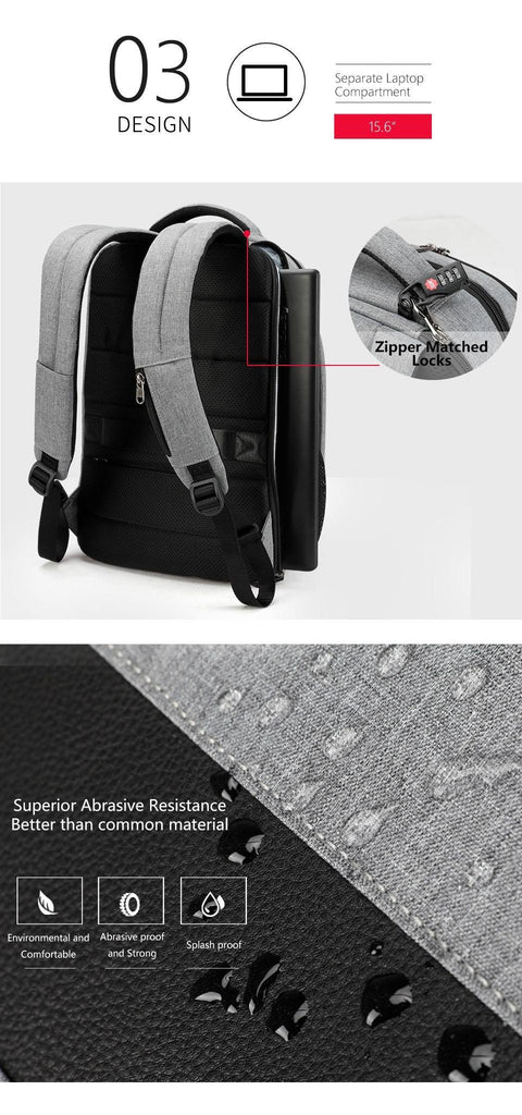 Men's Fashionable 15.6in Travel Backpack w/ USB Port & Laptop Pocket- Black Grey, GreyBackpack - Kalsord