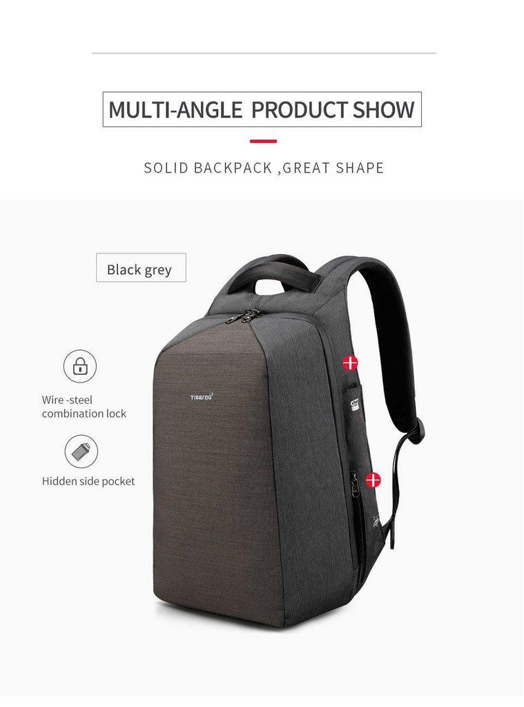 Men's New Design 15.6in Laptop Backpack- Black & Grey, GreyBackpack - Kalsord