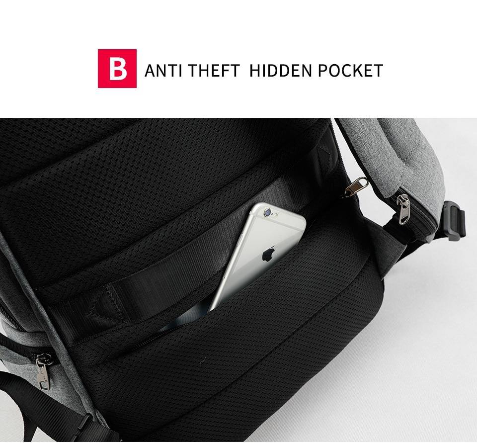 Men's Anti Theft 15.6in Backpack w/ USB Port 15.6 & Laptop Pocket- Black, GreyBackpack - Kalsord