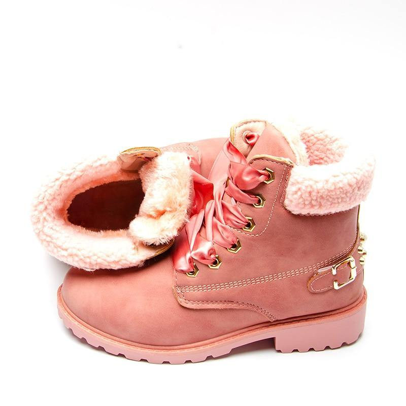 Women's New Lace Up Winter Boot- Grey, Pink, Yellow - Kalsord