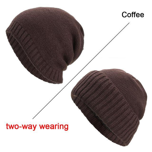 Two-Way Plain Knitted BeanieBeanies - Kalsord