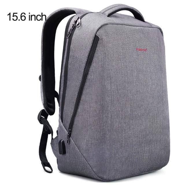 Backpack w/ USB Port & Laptop Pocket- Black grey, Greybags - Kalsord