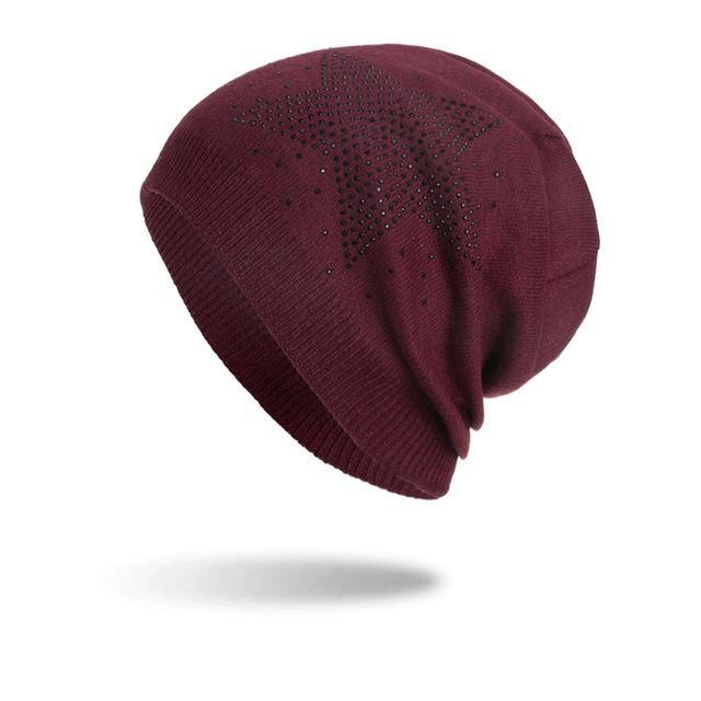 Star Design Fashion Winter Beanie For Women - 7 ColorsBeanies - Kalsord