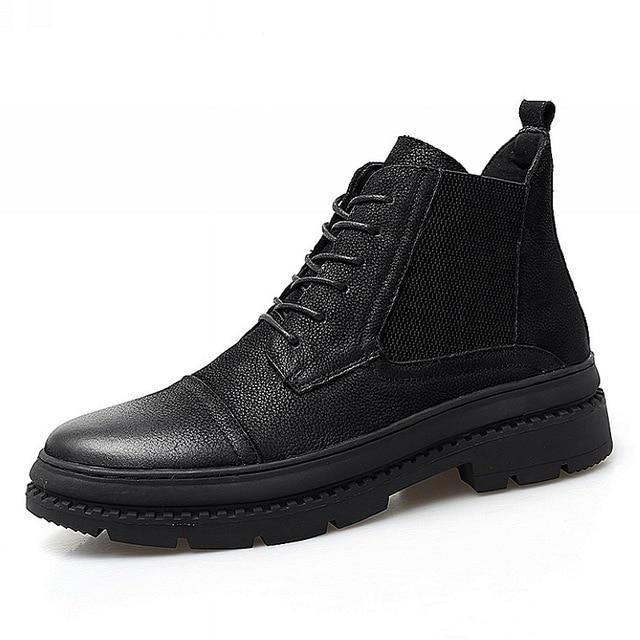 Men's New Black Ankle Leather Boot - Kalsord