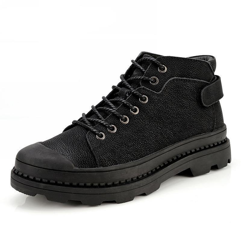 Men's Winter Genuine Black Leather Boot - Kalsord