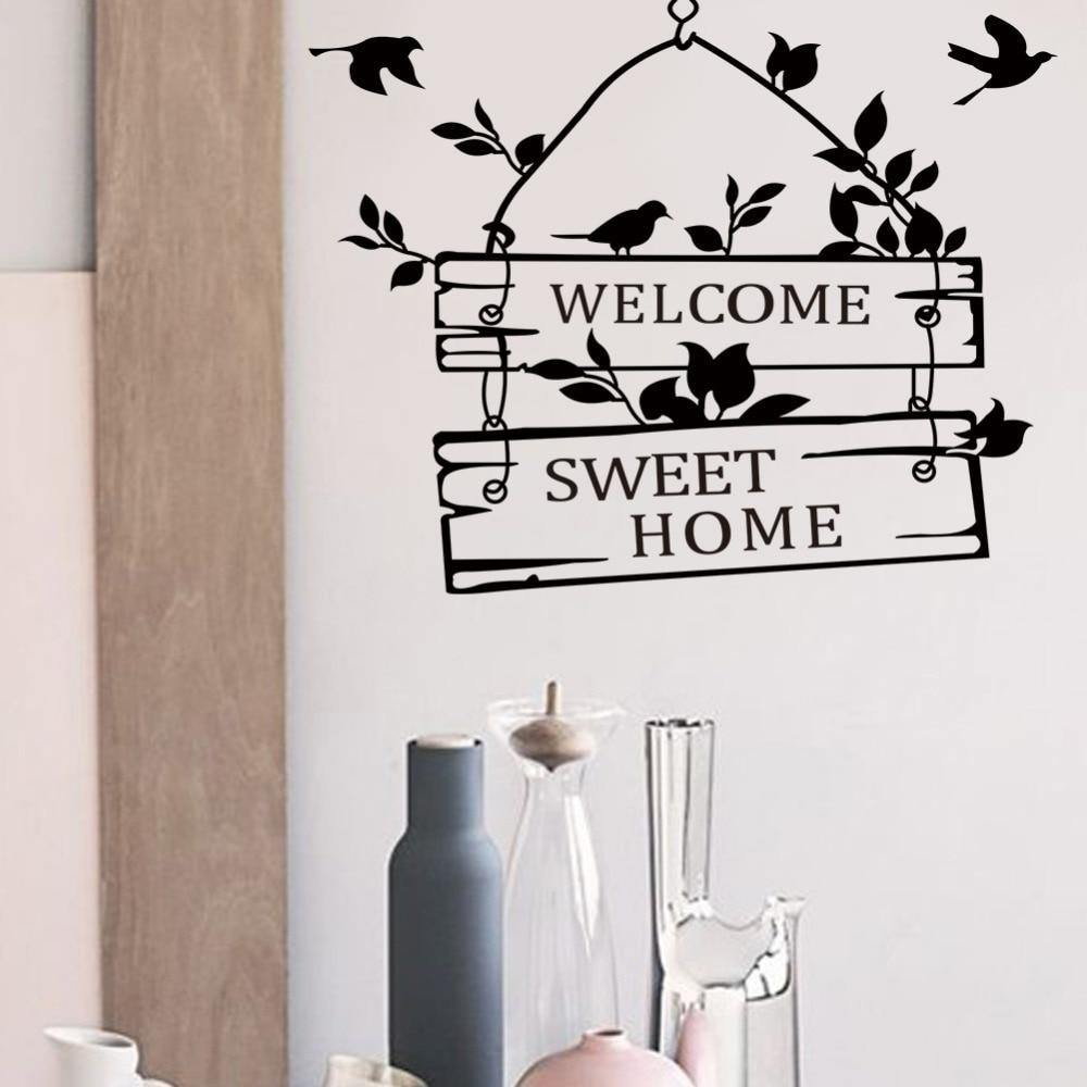 Welcome Sweet Home Quote Wall Sticker Home Decor | Mural Art - Kalsord