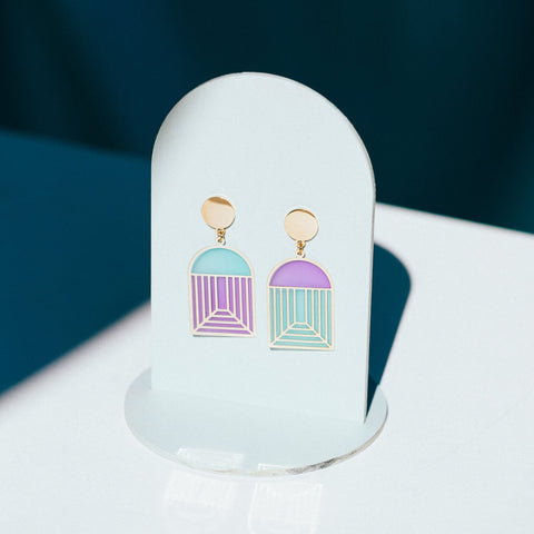 Geo - Nov18 - Arch Translucent Drop Earrings - Pastel Neons (SINGLES)
