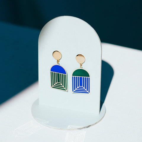 Arch - Translucent Earrings - Jewel Tones (Cobalt/Emerald)