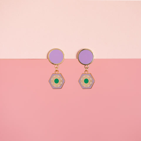 Geo - Flower Tile Drop Earrings