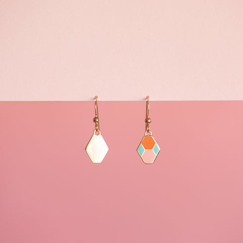 Geo - Hex Tile Drop Earrings
