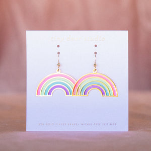 Rainbow Translucent Drop Earrings (PAIRS)