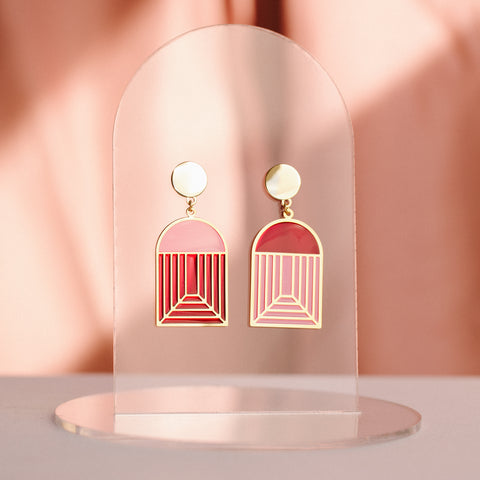 Arch - Translucent Earrings - Jewel Tones (Pink/Red)
