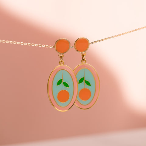 Geo - May19 - Orange Oval Earrings (PAIRS)