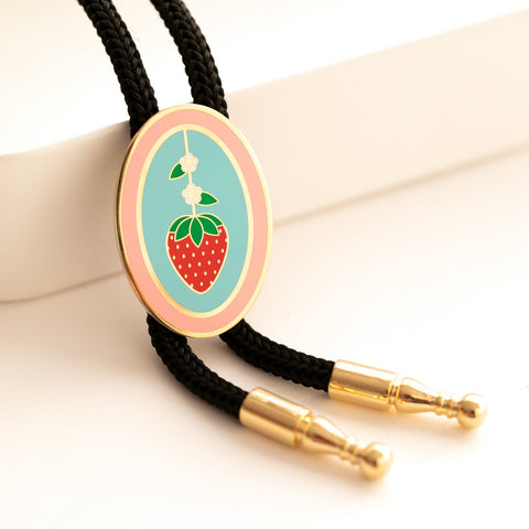 Geo - May19 - Strawberry Oval Bolo Tie