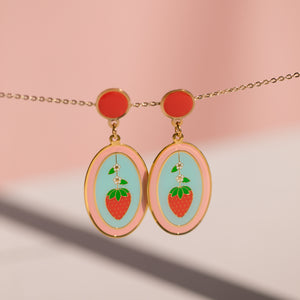 Geo - May19 - Strawberry and Orange Oval Earrings (PAIRS) and Necklaces