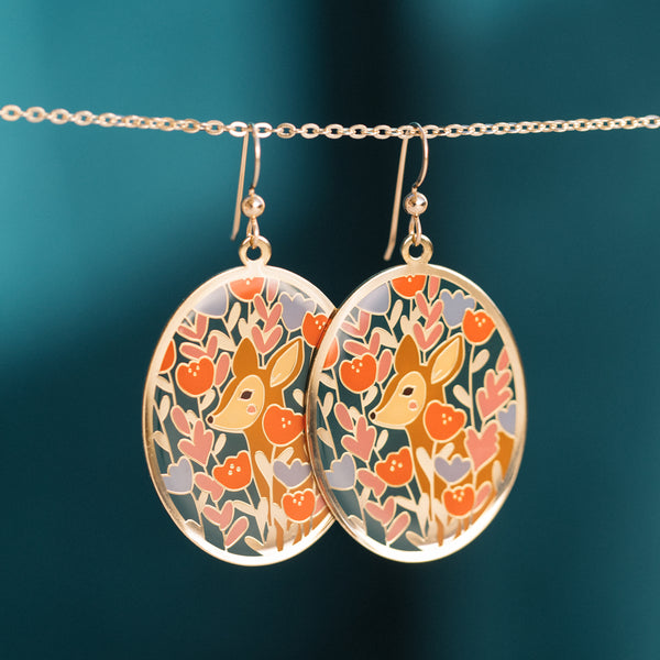 Floral Deer Oval Earrings with Justine Gilbuena (PAIRS)