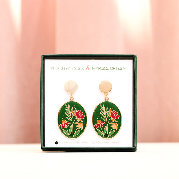 PREORDER: Floral Oval Earrings with Marisol Ortega (PAIRS)