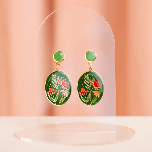 Floral Oval Earrings with Marisol Ortega (PAIRS)