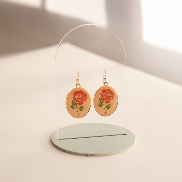 PEACH Rose Oval Earrings with Natelle Quek