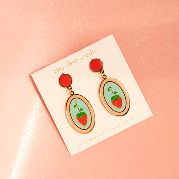 Geo - May19 - Strawberry and Orange Oval Earrings (PAIRS)