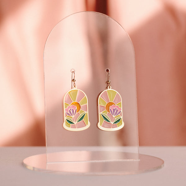 Bell Jar Translucent Drop Earrings and Necklaces with Have A Nice Day