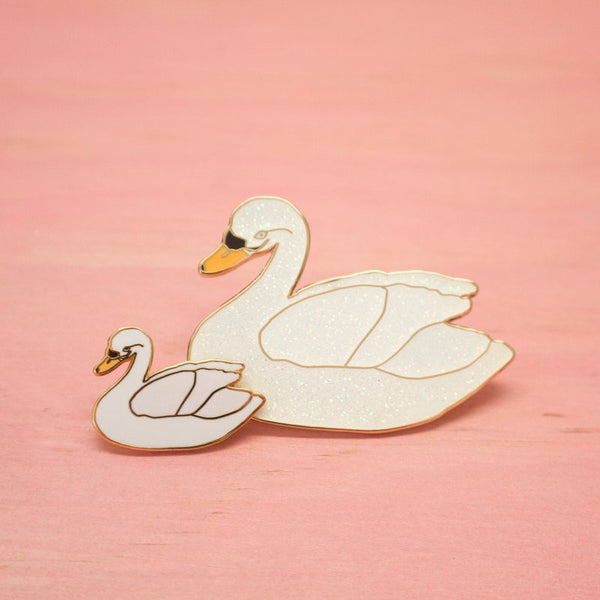STANDARD QUALITY: The XL Glitter Swan Pin