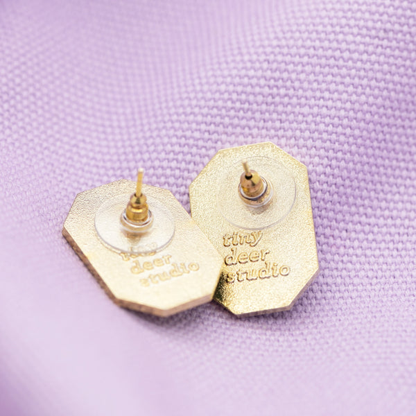 Geo - March19 - Gem Hard Enamel Earrings