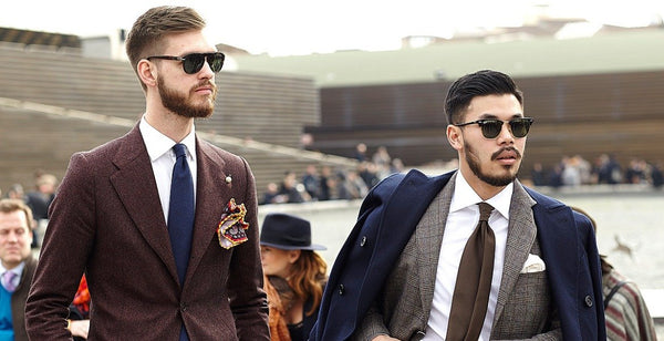 Brown Suit Street Style Feature Image|Brown Suit Bodyshot|Brown wedding suit|Brown Tweed Suit|Brown Tweed Wedding Suit|Brown Shoes|Pinstripe Brown Suit|Brown Tweed Jacket and Tie|Tweed Suit Man With beard