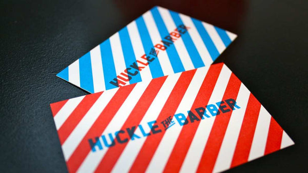 Huckle the barber store cards|Hucke the Barber promo flyer|Huckle the Barber interior|Huckle the Barber interior