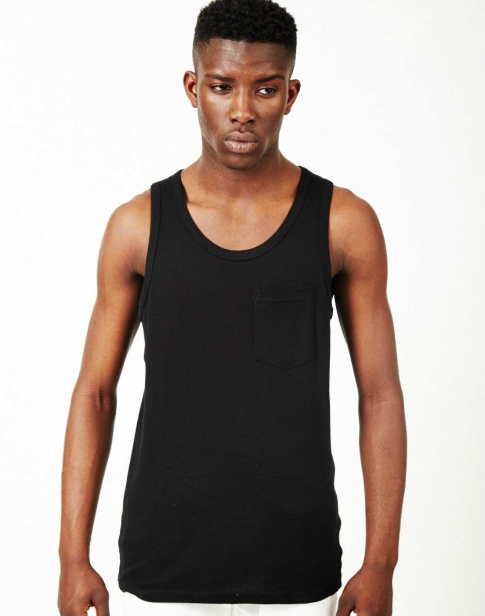 THE IDLE MAN Classic Ribbed Vest Black for men