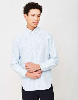 mens Classic Striped mens Oxford Shirt Light Blue