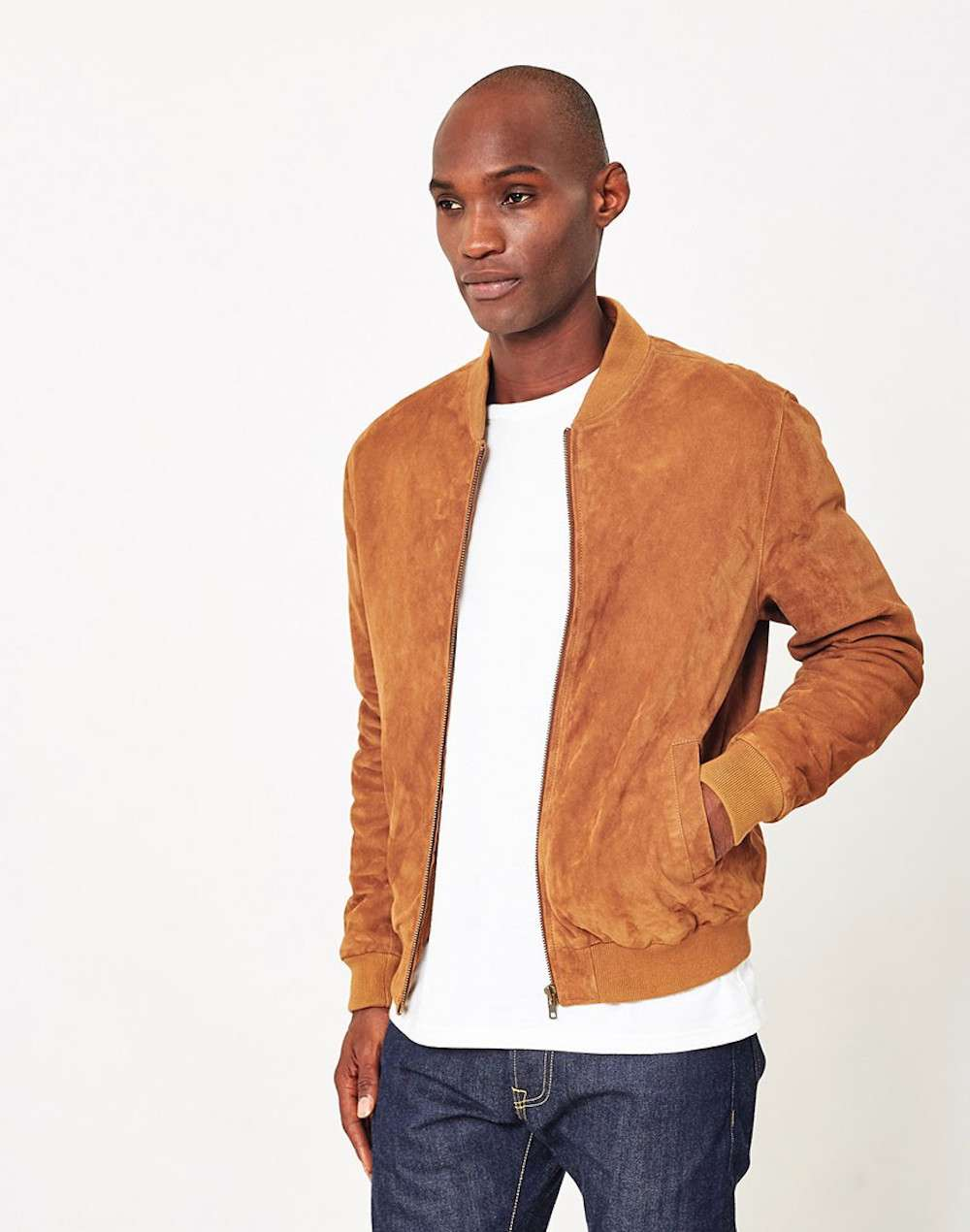 The Idle Man Suede Bomber Jacket men