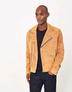 The Idle Man Brown Suede Biker Jacket men