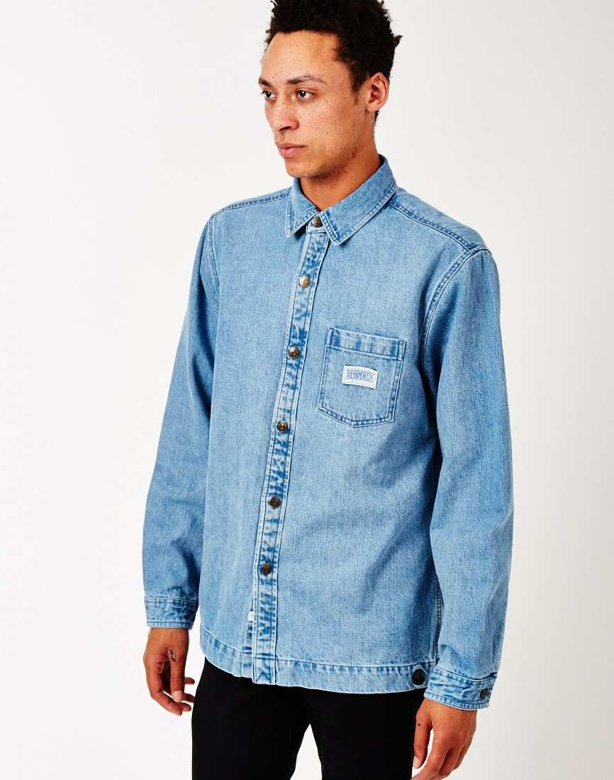 mens The Hundreds Blue Denim Shirt