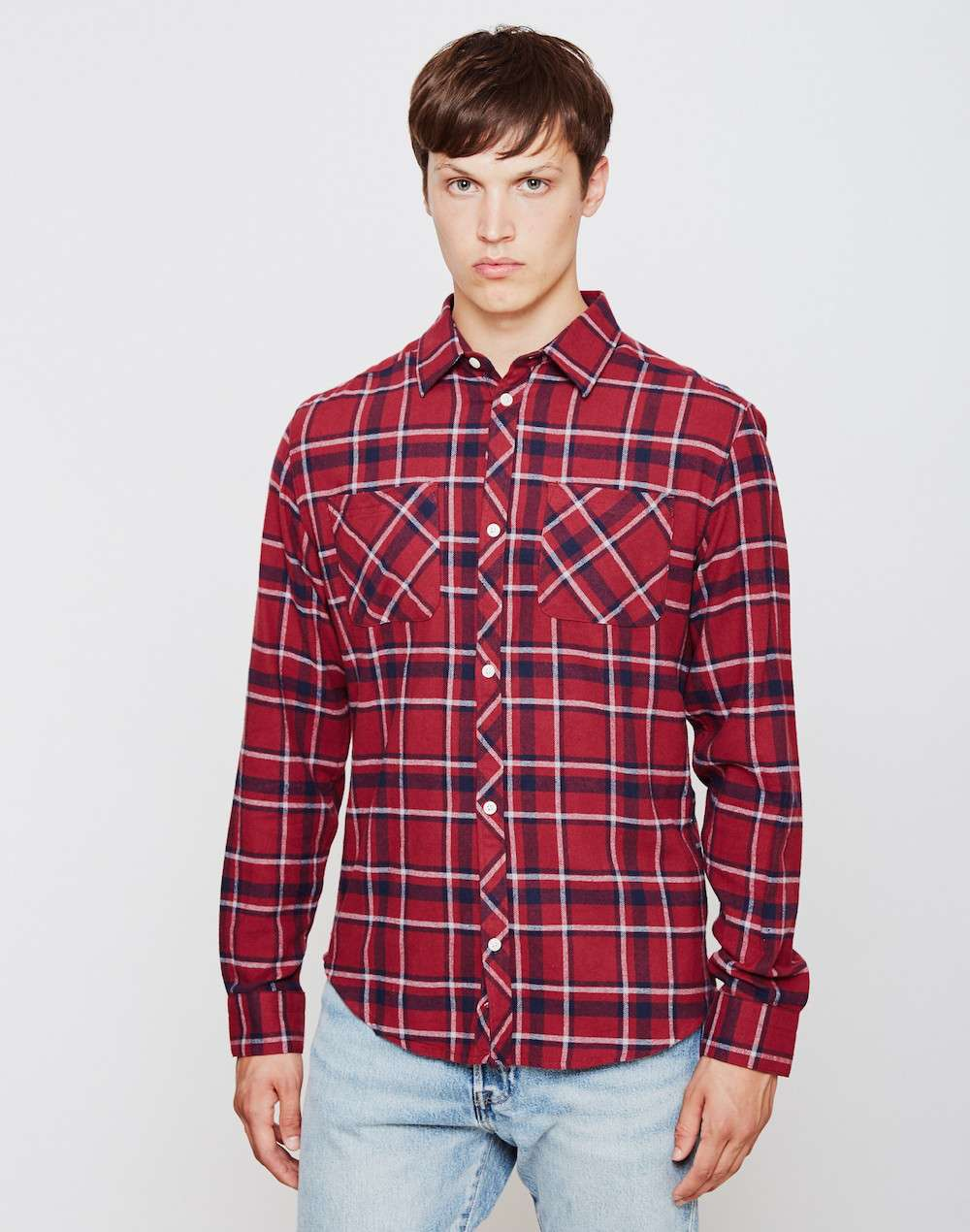 THE IDLE MAN Pocket Flannel Shirt Burgundy mens