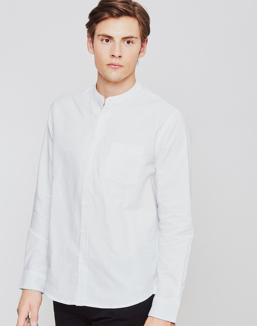 Mandarin Collar Shirt White mens