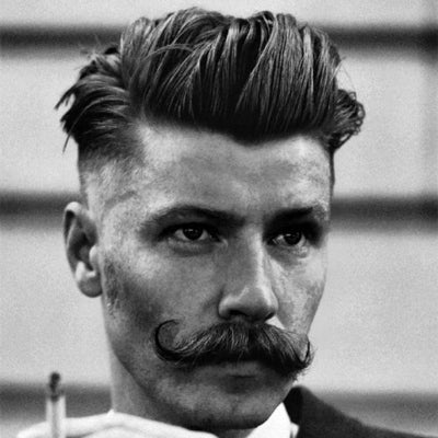 1920s mens haircut and moustache