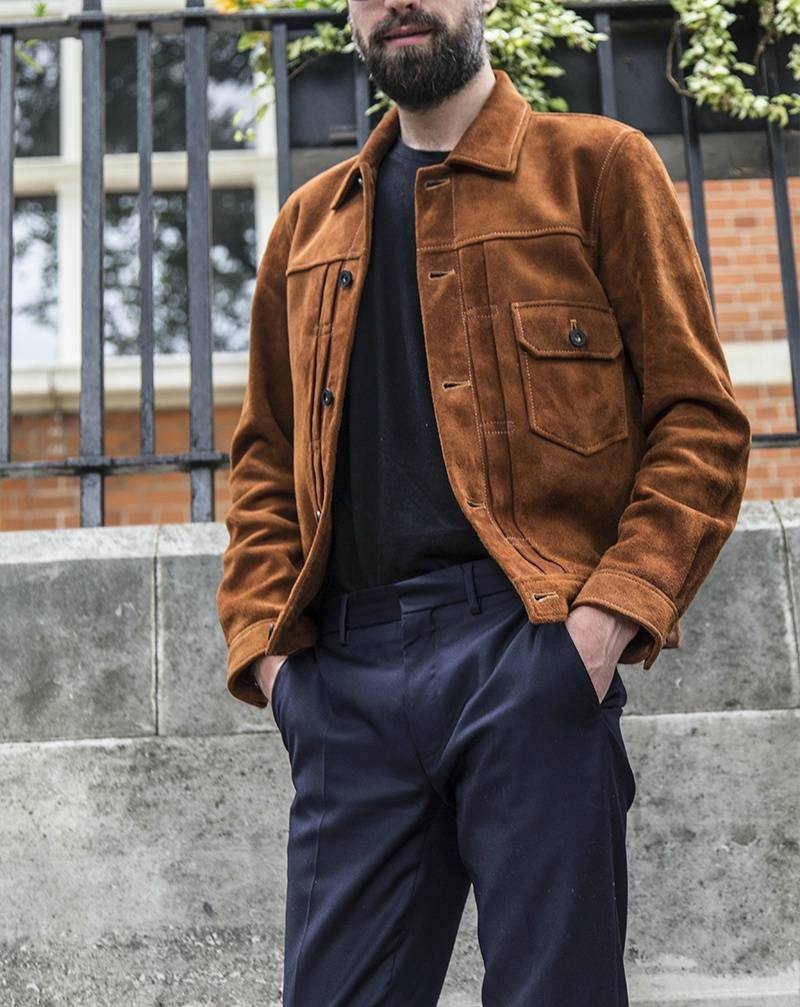 jack Guinness spring jacket suede trousers blue