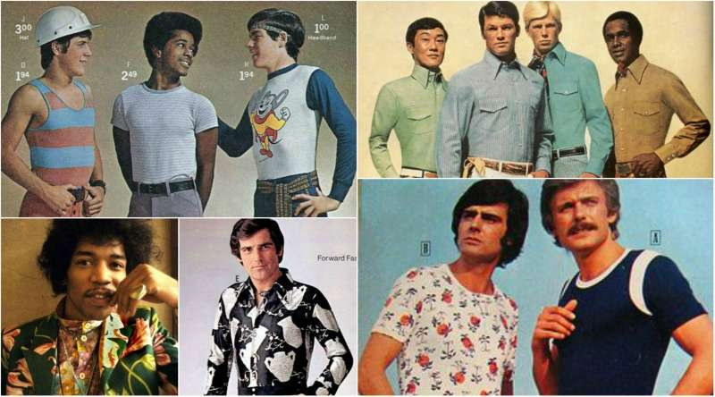 70s style shirt collage