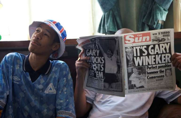 Lucien Clarke Wearing Palace x Umbro Jersey and Bucket Hat