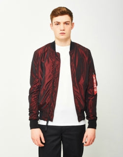 ALPHA INDUSTRIES MA-1 Iridium Bomber Jacket Burgundy mens