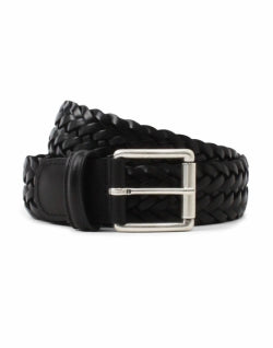 ANDERSONS Black Leather Woven Belt Black mens