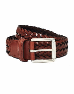 ANDERSONS Leather Woven Belt Brown mens