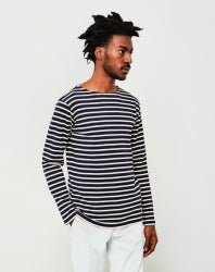 ARMOR LUX Classic Long Sleeve Mens T-Shirt Navy & Off White