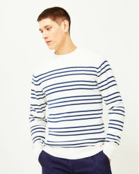 ARMOR LUX Mens Double Stripe Mariner Sweater Off White