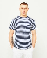 ARMOR LUX Mens Pocket T-Shirt Navy Off White