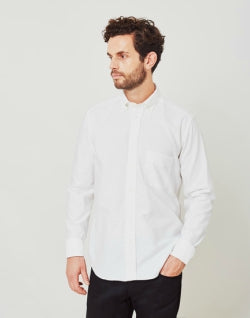 B.D.BAGGIES Classic Plain Oxford Shirt White mens