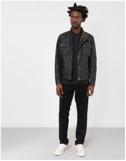 BELSTAFF Racemaster Wax Jacket Black Mens